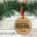 2019 Merry Christmas Travel Trailer RV Laser Etched Alder Wood Ornament