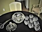 Crystal Punch Bowl with Lid Eight Cups and Ladle