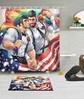 American Gay Man 100% Polyester Fabric Shower Curtain Liner Bath Accessory Set