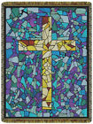 Stained Glass Cross North American Made Religious Woven Tapestry Throw Blanket