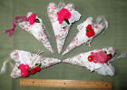 Set of 5~Stuffed Fabric~Shabby Chic / Primitive~Hand Crafted Valentine Hearts