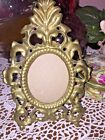 VTG Oval Easel Brass Victorian Style Photo Pic Frame 2x2-1/2