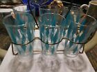 Lot of 6 Mid Century Turquoise Diamond Drinking Glasses Caddy Metal Rack Carrier