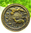 FANTASTIC VICTORIAN SPORTING BUTTON EAGLE FLYING OVER SCARED DEER/BUCK R140