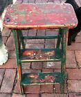 Vintage 3-Step Folding Step Stool Primitive RED/GREEN Paint Wooden Ladder~Fun!