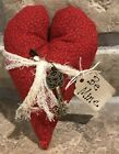 Primitive Made Fabric *Key To My Heart* Red Homespun Valentine Heart