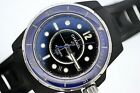 CHANEL J12 MARINE AUTOMATIC BLACK & BLUE CERAMIC AND RUBBER CLAD WATCH $1