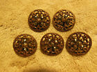 LOT OF 5 ANTIQUE VINTAGE METAL BUTTONS OPEN WORK CUT STEEL GOLD TONE 5/8