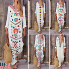 Womens Floral Maxi Beach Dress Long Sleeve Casual Boho Kaftan Tunic Gypsy Ethnic