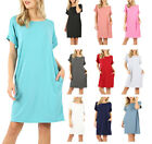 Womens Rolled Short Sleeve Shirt Loose Knit Tunic Dress with Pocke