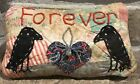 Very Primitive Two Crows *Forever* Pillow- Made From Vintage Quilt