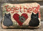 Very Primitive Two Kitties*Together* Pillow- Made From Vintage Quilt