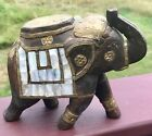 Vintage Hand Carved  Wooden BRASS FITTED ELEPHANT BEAUTIFUL MOP Inlay Trunk Up