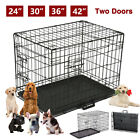42 36 30 24 Folding Cat Dog Crate Pet Kennel Metal Cage Tray Playpen 2 Doors