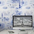 Vintage Paper Wallpaper rolls wall coverings textured city Urban blue metallic
