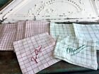 Antique vintage 8 Lot Linen Cotton Towel red and Green Stripe Checkerboard