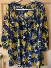 Womens 3X Maggie Barnes Colorful Blue  Yellow Floral Pullover Tunic Top