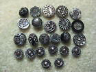 LOT OF SMALL ANTIQUE/ VICTORIAN BLACK GLASS BUTTONS / SILVER LUSTER