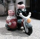 Clay Art salt and pepper shakers bobble heads pigs on a motorcycle collectible
