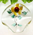 CUTE LARGE VINTAGE LUCITE BUTTON W/HAND PAINTED FLOWER S9