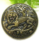 VICTORIAN METAL PICTURE BUTTON W/ LION IN JUNGLE T4