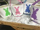 Personalized Canvas Easter Basket Pink Blue Purple or Green