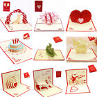 Valentine 3D Card Birthday Wedding Anniversary Greeting Cards Invitations