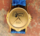 New IT International Traders Logo Mens Wristwatch 24k Gold w / Leather Band