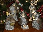 Nativity Set Large Resin Metali Burlap Nativity Set 6 Pieces