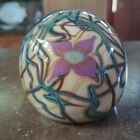D Bagwell Studio Art Glass Paperweight Cream Violet Flowers Vines Signed Dated