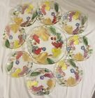 Clear Glass Fruit Serving Bowl Plate with 8 bowls Embossed Colorful Unique