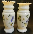 Vintage Pair of Hand Painted Bristol Glass Ruffle Top Opaque White Vases VG - Ex