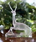 Large Lalique Crystal Sculpture Cerf Stag Deer Mint Signed Authentic