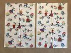 2 Vintage Dutch Boy  Girl Cotton Dish Towels Red Yellow Blue NEW OLD STOCK