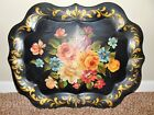 Antique Chippendale Style Large Tole Toleware FLoral Shabby Chic Metal Tray #2