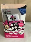Disney MINNIE MOUSE TWIN BED SHEET SET single HOT PINK Dots Microfiber NEW