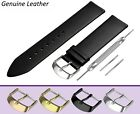 Fits RADO Watch Black Genuine Leather Watch Strap Band for Buckle Clasp Pins
