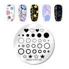NICOLE DIARY Round Nail Art Stamping Template Circle Heart Star Nail Stamp Plate