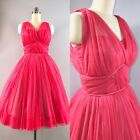50s Dress Vintage 1950s Coral Polyester Chiffon Ruched Nipped Cocktail 33b 24w