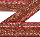 Vintage Sari Border Antique Hand Beaded Bandhani 2YD Trim Sewing Pink Lace