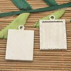 8pcs silver tone picture frame charms h3037