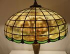 REVERSE PAINTED TIFFANY STYLE STAINED GLASS LAMP