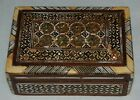 Vintage Inlay Mother Of Pearl Mosaic Wood Trinket Jewelry Box Wooden Red Lining