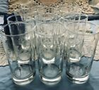 VTG DESIGNER LIBBEY ETCHED BAMBOO TALL COLLINS 12 GLASSES MID-CENTURY MODERN