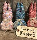 Set Of 3 Primitive Made Homespun Fabric Bunny Rabbits