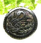 PRETTY VICTORIAN CARNIVAL LUSTER GLASS BUTTON WITH SWAN Z132