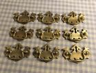 9 Vintage Steel And Brass Batwing Style Dresser Drawer Pulls Chippendale BS 5419
