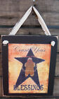 Count Your Blessings Hanging Wall Sign Plaque Primitive Rustic Lodge Cabin Decor