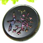 PRETTY VICTORIAN GLASS BUTTON W/ INCISED CARNIVAL LUSTER HUMMING BIRD K16