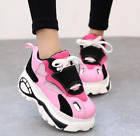 Pink US7 Womens Wedge High Heel Platform Mesh Lace Up Athletic Sneakers Shoes